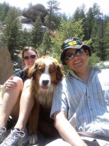 Me and my friend Adam and his dog, Denali, hiking in Chessman Canyon.