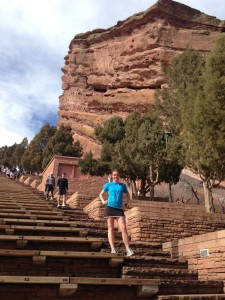 Me running the steps at Red Rocks